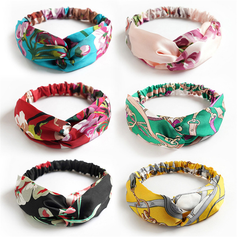 2020 New Fashion Chiffon Women Headband Flower Print Girl Hair Accessories Hair Band