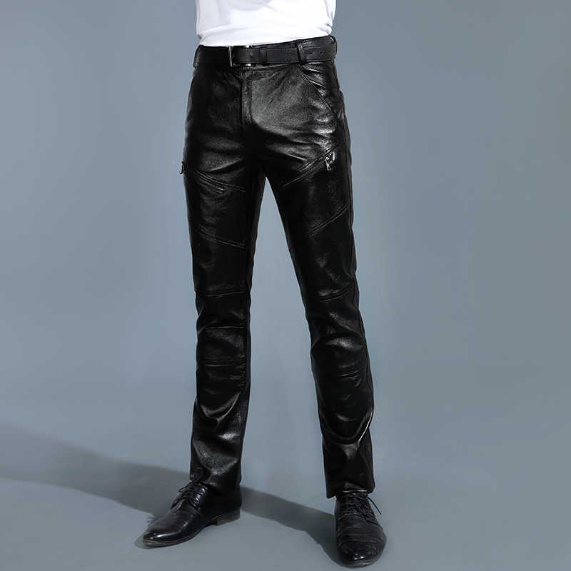 Men's Leather Pants Black Genuine With Fleece Pants Winter Youth Thickened Pants The First Layer Cowhide Pants Goatskin Pants