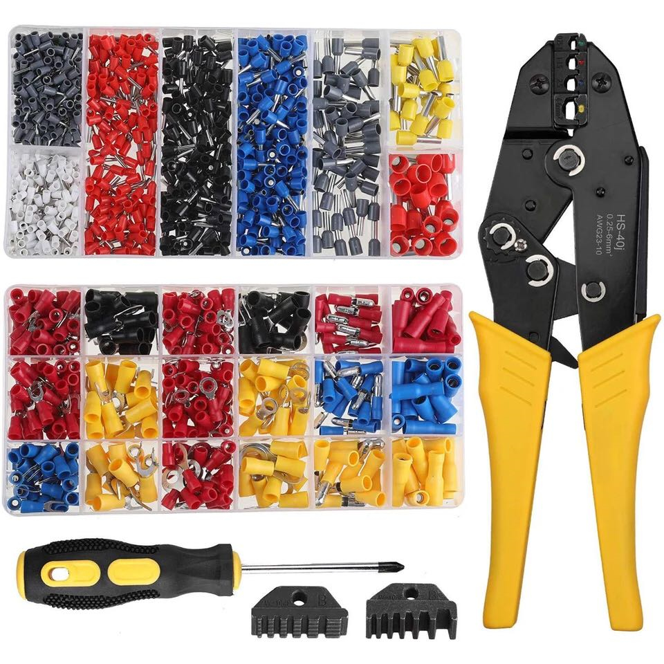 <font><b>HS</b></font>-<font><b>40J</b></font> Five-piece crimping pliers with jaws plus screwdriver 370pcs pre-insulated cold-pressed terminal 800pcs tube set image