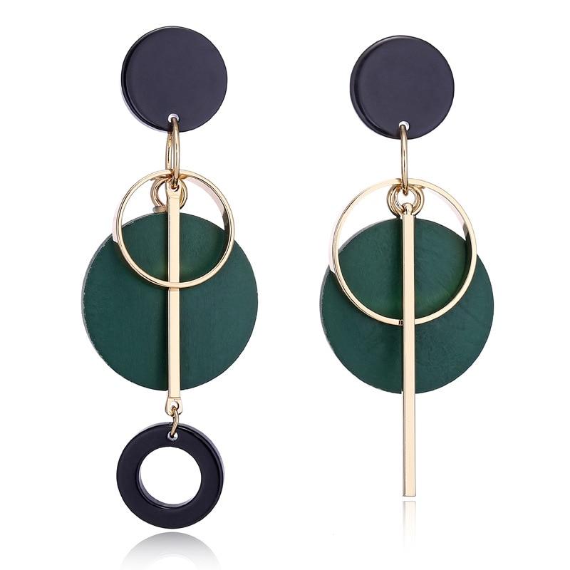 Round Wooden Earrings Geometric Women Dangle Earrings Long Asymmetrical Earrings For Women Vintage Bohemian Jewelry Gifts 2020