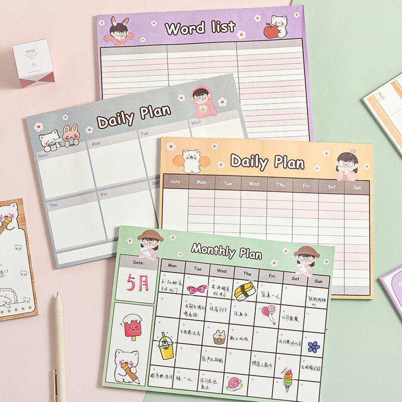 Minkys 50 folhas kawaii diário bloco de notas papel planejador mensal para fazê-lo lista de verificação bloco de notas papelaria escola
