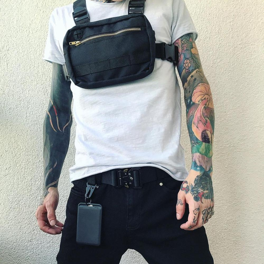 Vest-Style Large Space Chest Bag Retro Square Chest Bag  Streetwear Shoulder Functional Backpack Tactics Funny Pack G108