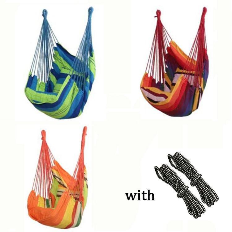 Three Color Camping Hammock With Rope Canvas College Dormitory Hanging Chair Swing Patio Furniture Dorm Rocking Chair