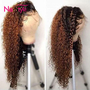 Honey Blonde 13x6 Lace Front Human Hair Wigs Kinky Curly Ombre 360 Lace Frontal Wig Pre Plucked Full Lace Human Hair Wigs Color(China)