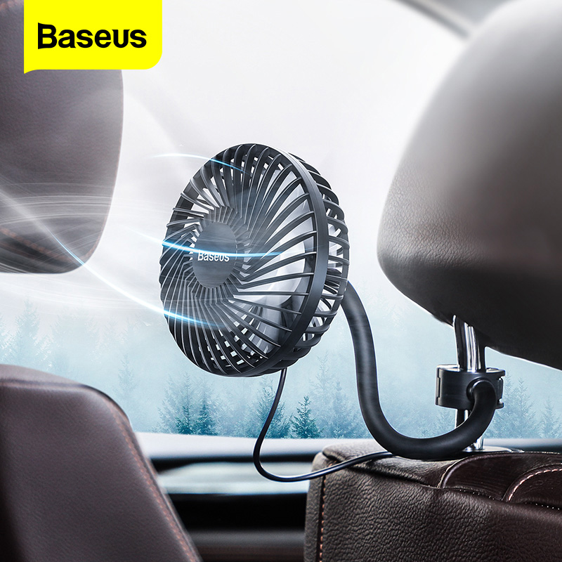 Baseus Car Fan Cooler 360 Degree Rotating Silent Car Air Vent Conditioner Fan 3 Speed Adjustable Backseat Mini USB Fan Cooling
