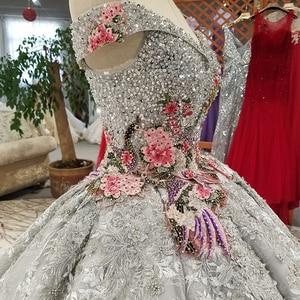 Image 5 - LS91289 di lusso abito di sfera del vestito da sera con il colore manualità fiori off spalla vestito da partito di paillettes con il treno come foto
