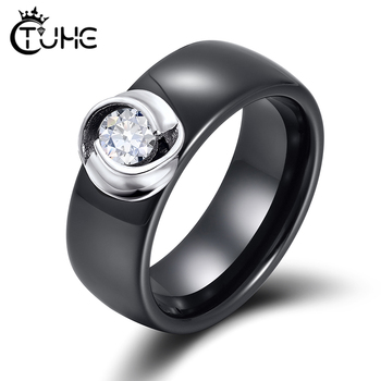 8mm Black White Ceramic Rings Plus Cubic Zirconia For Women Girl Elegant 925 Sterling Silver Women Wedding Ring Fashion Jewelry black cubic zirconia 925 sterling silver men s ring