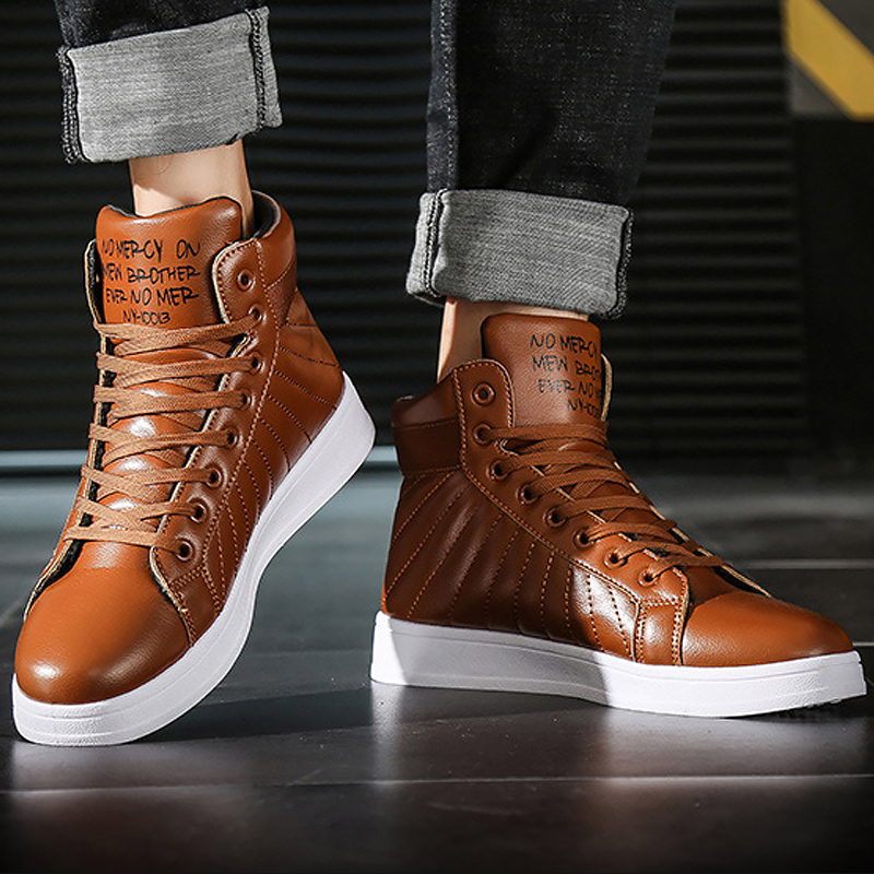 Snow Boots Men PU Leather Ankle Boots For Male Lace Up Warm Plush Winter Shoes Men Platform Boot Fashion Non Slip Sturdy Sole