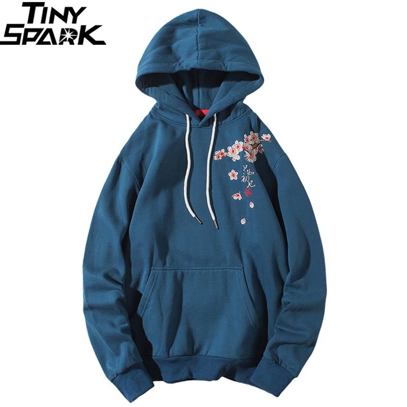 2019 Streetwear Hip Hop Hoodie Sweatshirt Embroidery Japanese Sakura Crane Men Harajuku Hoodie Pullover Cotton Blue Japan Style