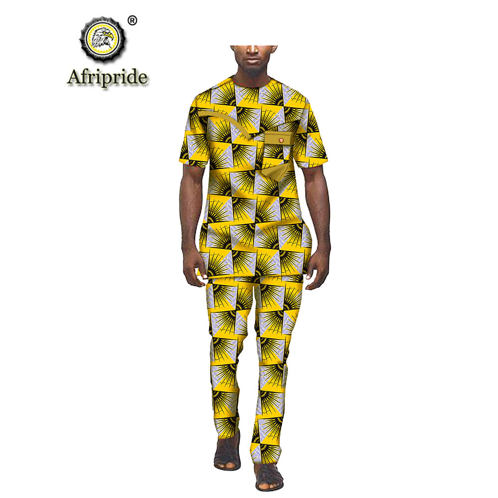 2019 <font><b>Mens</b></font> <font><b>African</b></font> Ankara Print <font><b>Shirt</b></font> Suit Blouse and Trousers with Pocket <font><b>Wax</b></font> Cotton Tracksuit Dashiki AFRIPRIDE S1916018 image
