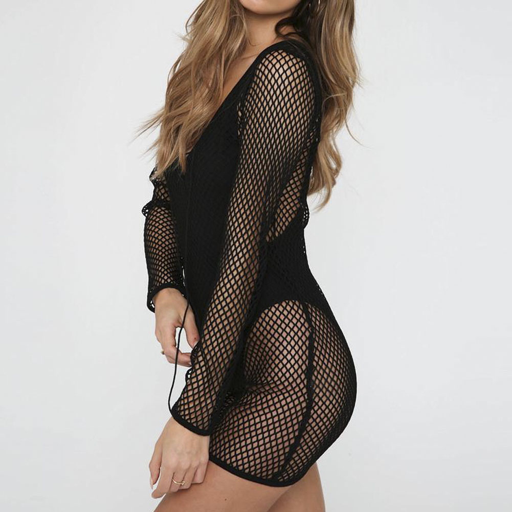 Hot Selling Women Summer Sexy Lace Fishnet Bikini Beach Cover Ups Hollow Swimwear Bathing Suit Beachwear Female Short Mini Dress