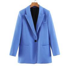 Women Blue Blazer Long Sleeve Office Jacket Ladies Coat Pock