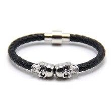 2020 Fashion Punk Braided Leather Bracelets Skull Bracelet Wrap Women Men