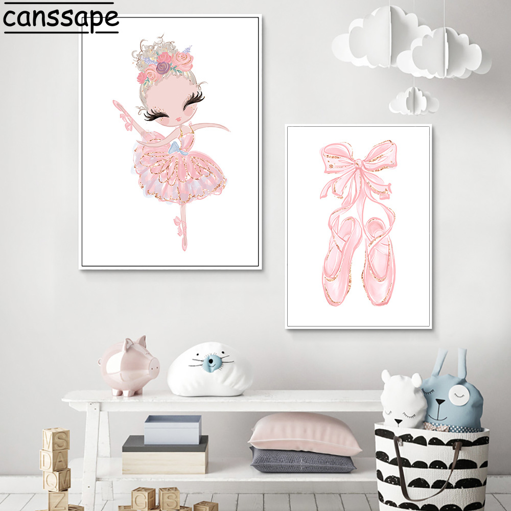 PINK SWAN CANVAS WALL PAINTING PICTURE POSTER ART KIDS NURSERY ROOM DECOR FADDIS