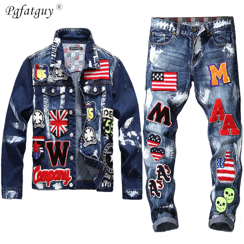 Borduurwerk Patch Ontwerp Jas Jeans 2 Delige Set Mannen Multi-Badge Schedel Jeans Sets Slanke Denim Jas + vlag Badge Verf Jeans