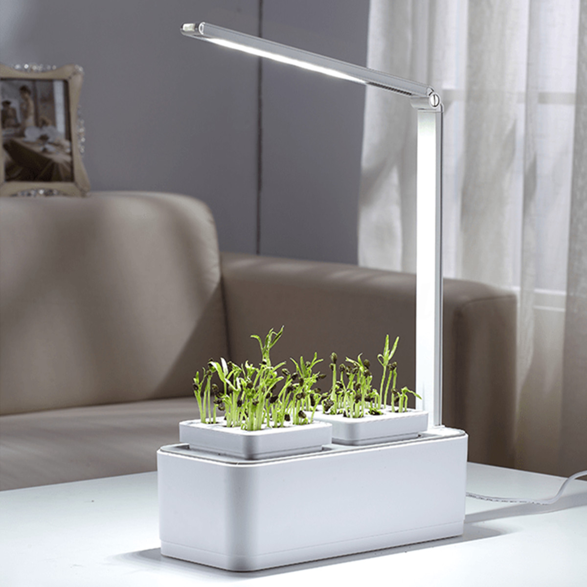 LED Light Automatic Flower Pots Planter Water absorbing Irrigation Plant Lamp Nursery Pots Indoor Decoration Garden Supplies
