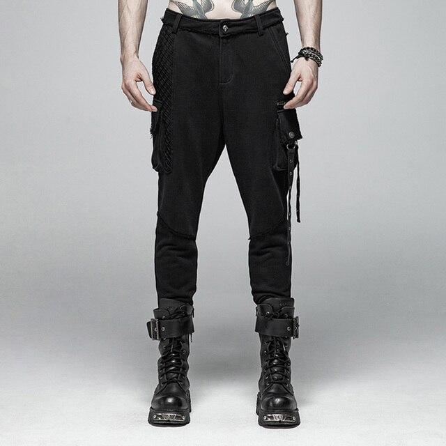 PUNK RAVE Mens Punk Rock Black Knit Trousers Casual Mens Streetwear Big Pocket Long Punk Personality Cross Pants 1