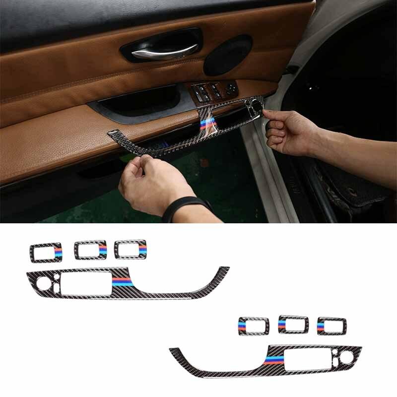 4pcs For BMW 3 Series E90 E92 E93 Accessories LHD Car Interior Carbon Fiber Door Window Switch Panel Cover Trim Car Styling