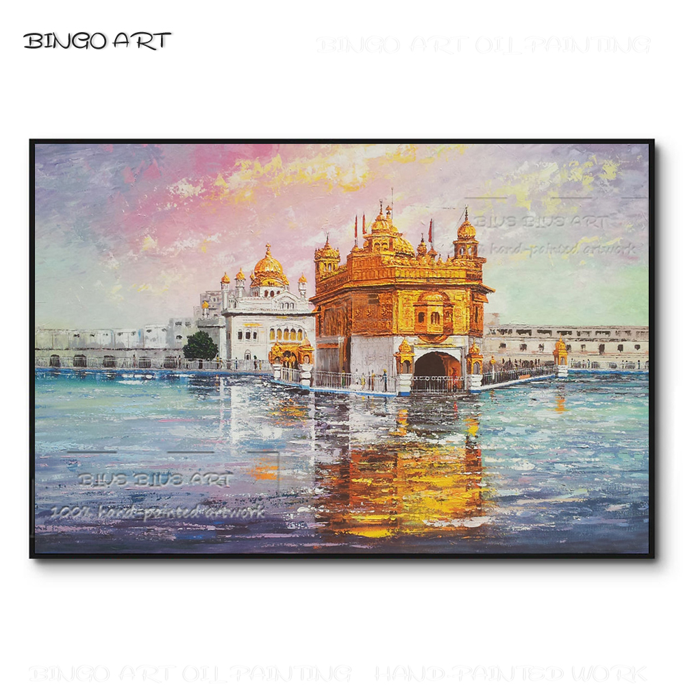 Skilled Artist Pure Hand-painted Golden Temple Oil Painting on Canvas Luxury Wall Picture Hand-painted Temple Scene Oil Painting