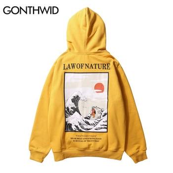 GONTHWID Japanese Embroidery Funny Cat Wave Printed Fleece Hoodies 2020 Winter Japan Style Hip Hop Casual Sweatshirts Streetwear