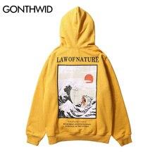 GONTHWID Japanischen Stickerei Lustige Katze Welle Gedruckt Fleece Hoodies 2020 Winter Japan Stil Hip Hop Casual Sweatshirts Streetwear