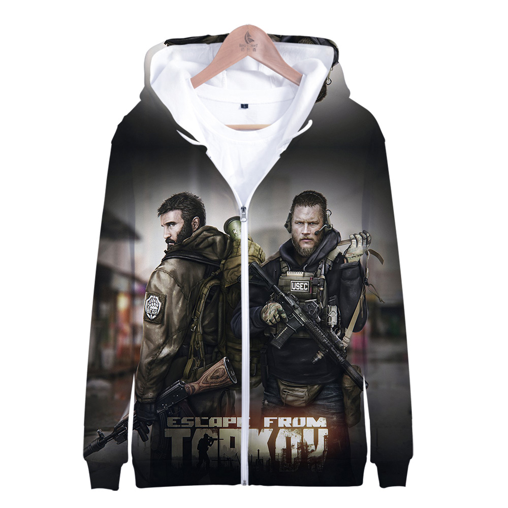 2019 Escape from Tarkov 3D Zipper Hoodies Men/Women Harajuku Style Hot Game Hoodies Escape from Tarkov Zipper Sweatshirt