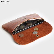 Genuine Leather Men Wallet Vintage Cowhide Male Long Slim
