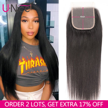 Unice Hair 4X4 Lace Closure Brazilian Straight hair Pre Plucked Closure Lace Remy Human Natural Color Black