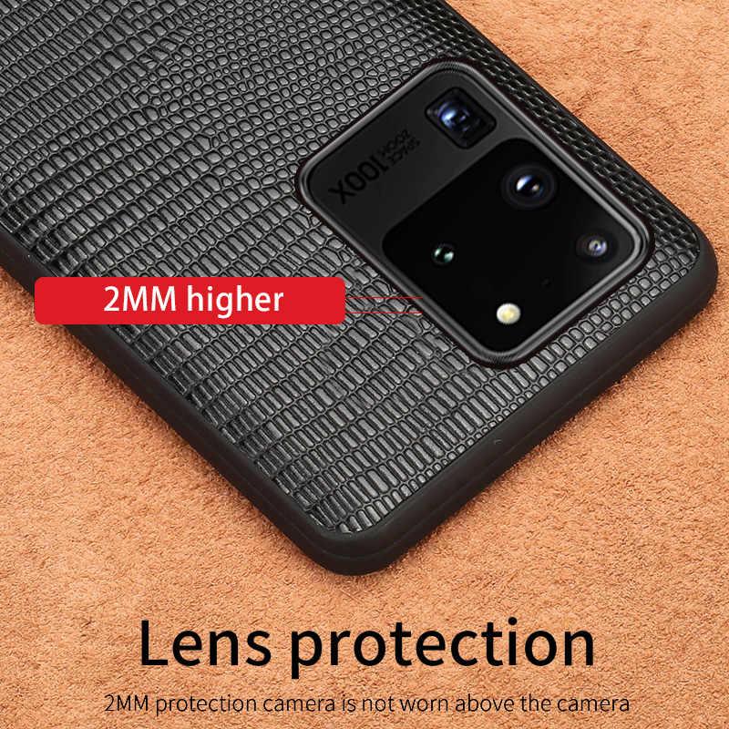 Echt Leer Hagedis Grain Phone Case Voor Samsung Galaxy S20 Ultra S20 Plus Note 10 9 S10 Plus S9 S8 s7 A50 A51 A70 Back Cover