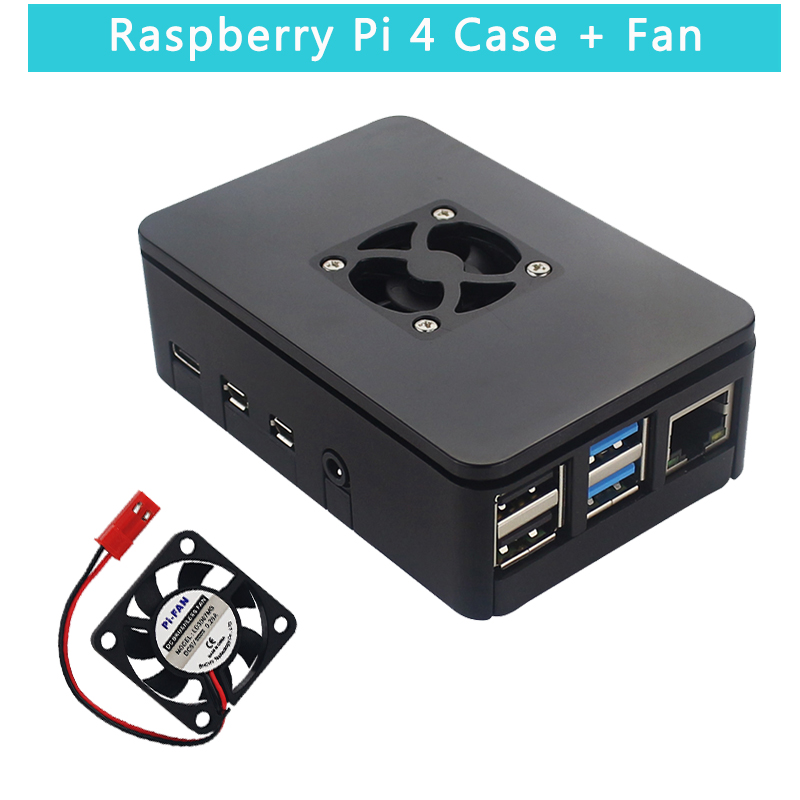 Raspberry Pi 4 ABS Case Plastic Box prtective Shell Black Housing support Cooling Fan for Raspberry Pi 4