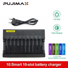 PUJIMAX10-slots ładowarka 18650 ue inteligentne ładowanie 26650 21700 14500 26500 22650 26700 akumulator litowo-jonowy do ponownego ładowania z ładowarką tanie tanio Elektryczne LAX01 Standardowa bateria
