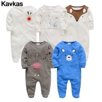 Kavkas 2019 5pcs Elk Bear Jumpsuit Ready Stock 0 12m Cotton Clothing Creeper Boy Cartoon Print Clothing