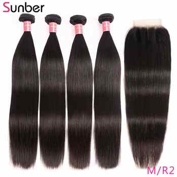 Sunber Peruvian Straight Hair 4 Bundles With Closure M Remy Human Hair Weave Bundles With 4X4inch Lace Closure Free/Middle Part - DISCOUNT ITEM  46% OFF All Category