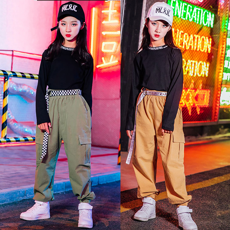 Hip Hop Jazz Costumes Fashion Overalls Pants Girls Street Dance Clothing Kids Modern Stage Outfits Child Performance Wear DN4715