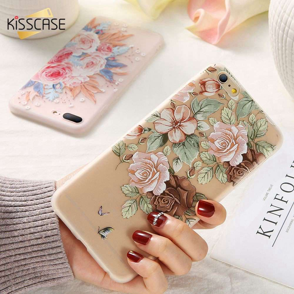 Ultra Slim Soft TPU Phone Case For iPhone 11 2019 7 XR XS MAX Fashion Flower Relief Cover For iPhone 6 6S 7 8 Plus X XS Funda in Fitted Cases from Cellphones Telecommunications