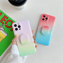 Candy Color Gradient 3D Handle Bracket Case For IPhone 12 Mini 12 11 Pro Max X XR XS Max Cover For iPhone 7 8 Plus Silicone Capa