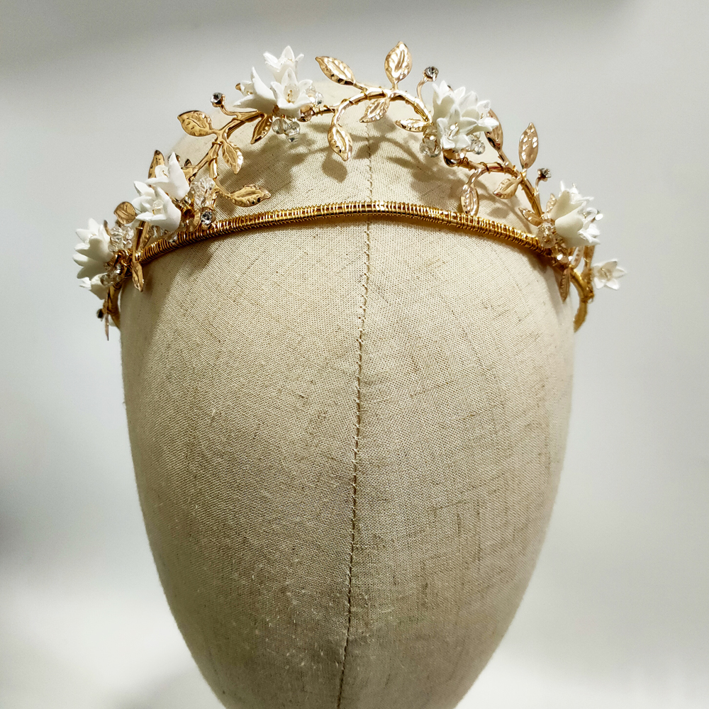 Delicate Clay Flower Mermaid Bridal Tiara Gold Leaf Crown Handmade <font><b>Wedding</b></font> <font><b>Headpiece</b></font> Party Prom <font><b>Hair</b></font> Jewelry Brides <font><b>Accessories</b></font> image