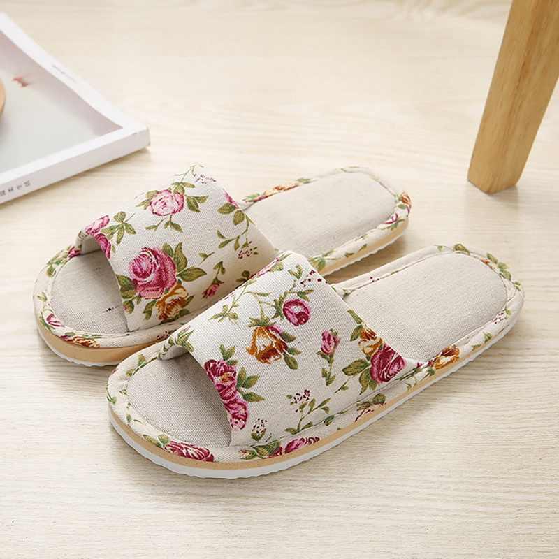Mulheres Verão Casual Floral chinelos Home Indoor Slides Chinelos Flor Chinelos Chinelos Feminino de Algodão Macio