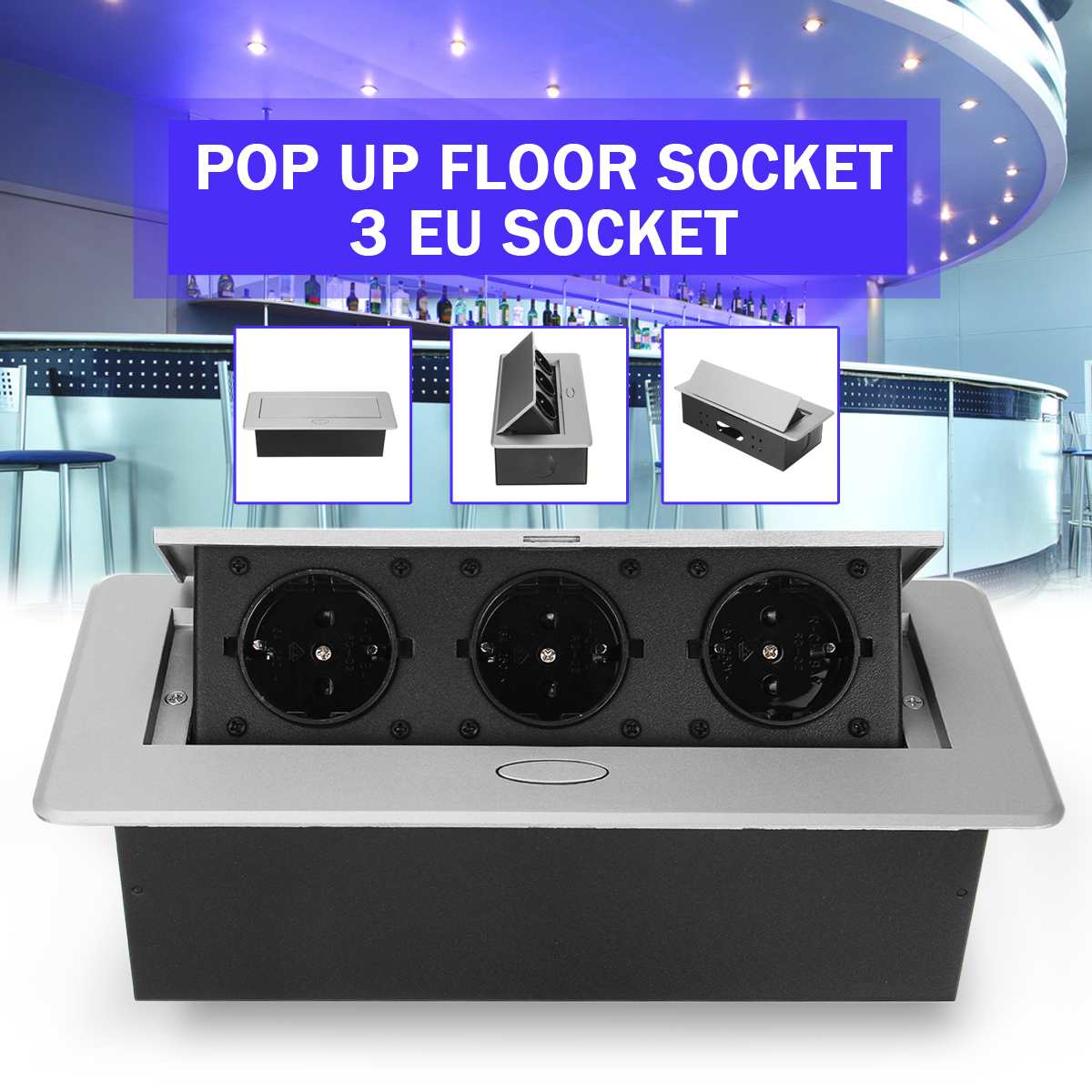 All Aluminum Panel EU Standard Up Floor Socket 3 Way Electrical Outlet Modular Combination Customized Available