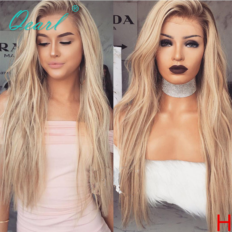 Blonde Ombre Human Hair Wig Natural Wave Lace Front Wigs Peruvian Remy Hair Free Part 13x4 130% 150% Preplucked Hairline Qearl