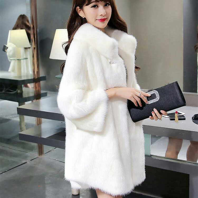 New Yimeng imitation fur new European and American  mink coat women's long section of