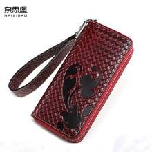 цена на New women genuine leather bag designer brands wallets fashion woven pattern women embossing long wallets leather clutch bags