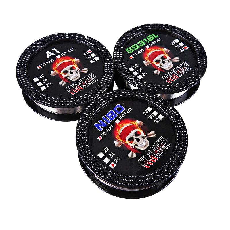 Authentic Pirate Coil A1 Wire 28GA/NI80 26GA/316SS 22GA Heating Wire 30 Feet  For E-cigarette Accessory