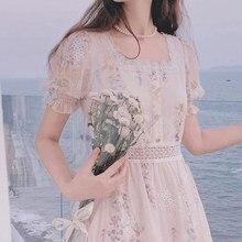One Piece Dress Korean Elegant Vintage Dresses Women Casual Floral Design Sexy Midi Dresses Evening Lace-Up 2021 Summer Chic