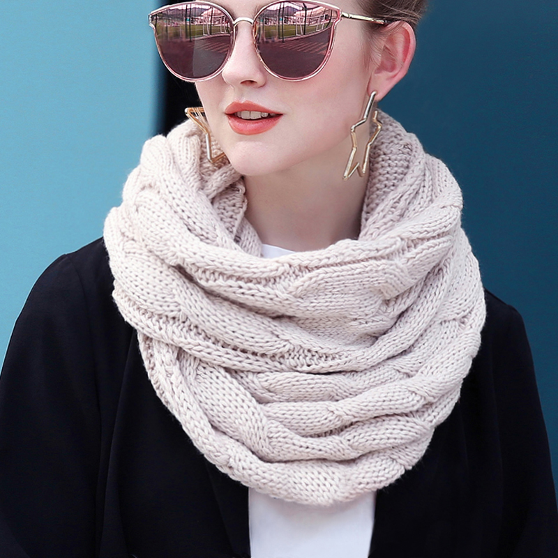 Ring Scarf Infinity-Scarves Circle-Cable Neck Knitted Warm Soft Winter Women Female