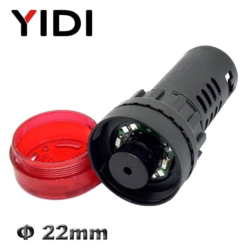 Panel Mount 22mm led Indicator buzzer 12V 24V 110V 220V led buzzer Cute FadNV