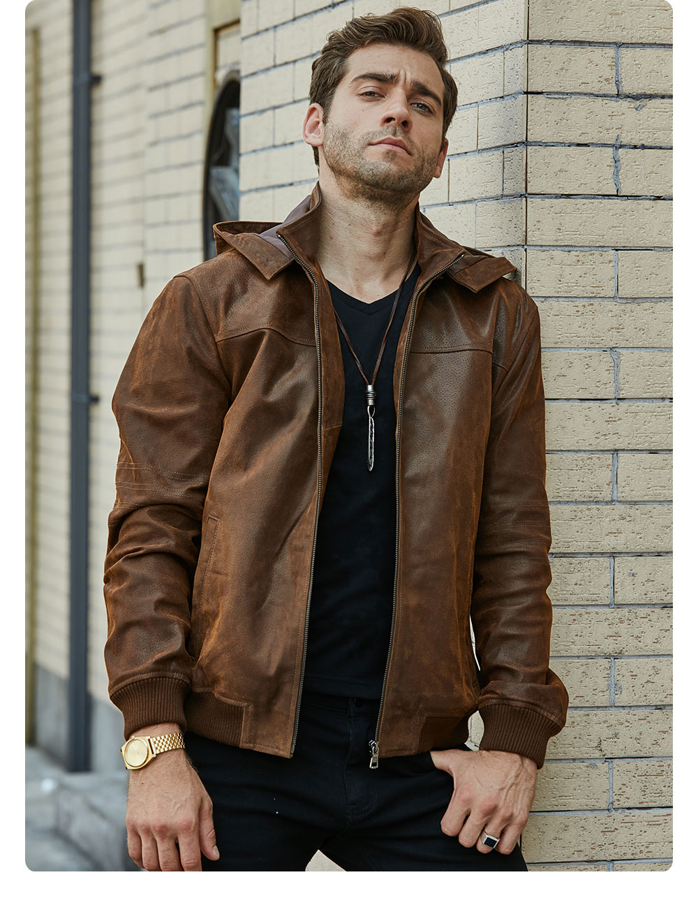 H1f1fd6cf7036492c8796be7c3e4dee7a3 New Men's Winter Jacket Made Of Genuine Pigskin Leather With A Hood, Pigskin Motorcycle Jacket, Natural Leather Jacket
