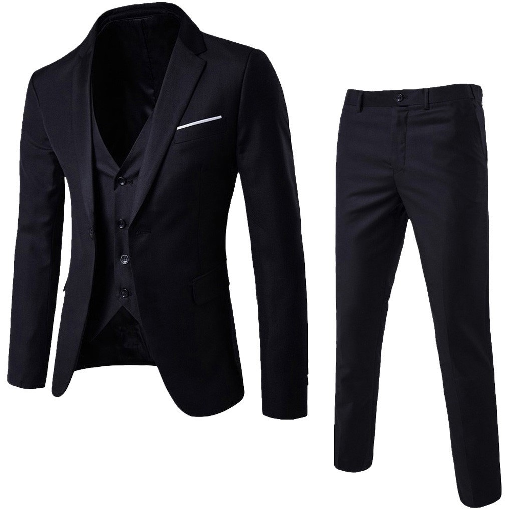 3 unids/set de talla grande chaquetas trajes de manga larga de Color sólido solapa Slim botón traje de negocios hombre chaquetas de los hombres traje de homme # J