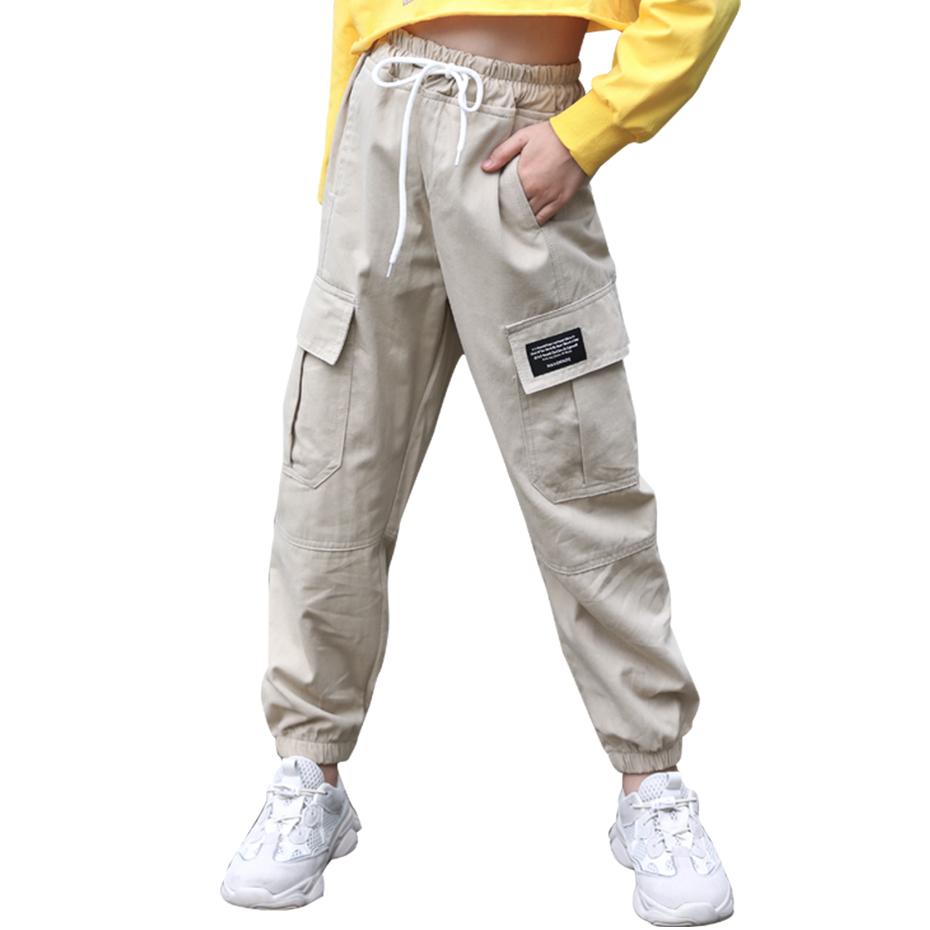 Cargo Pants For Girls Letter Sport Trousers Girl Patchwork Child Pants Casual Style Kid Clothes For Girls 6 8 10 12 14 1