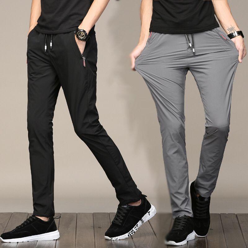 Summer Viscose Thin MEN'S Casual Pants Korean-style Slim Fit Elasticity No Ironing Athletic Pants Men Youth Quick-Dry Pants